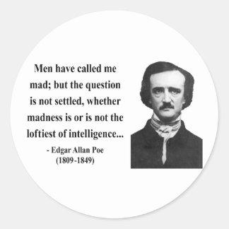 Cita 9b de Edgar Allen Poe Pegatina Redonda