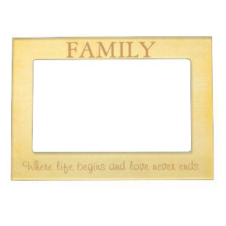 Cita amarilla de la familia marcos magnéticos para fotos
