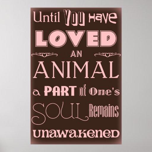 Cita animal Brown del amante y poster rosado