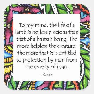 Cita animal de Gandhi Colcomania Cuadrada