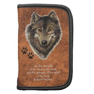 Cita animal del lobo de la acuarela y de la famili organizador
