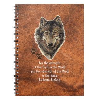 Cita animal del lobo de la acuarela y de la famili cuaderno