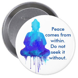 Cita azul de la paz de Buda Pin Redondo De 4 Pulgadas