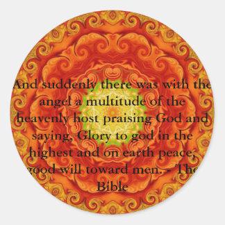 Cita bíblica inspiradora hermosa del ángel pegatina redonda