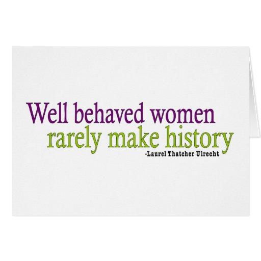 Cita bien comportada de las mujeres felicitacion