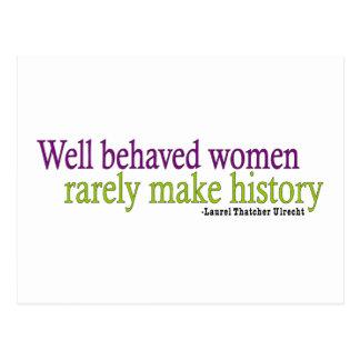 Cita bien comportada de las mujeres postal
