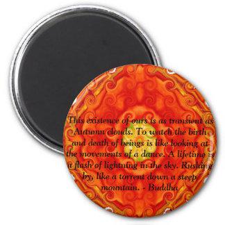 Cita budista con diseño espiritual vibrante iman de nevera