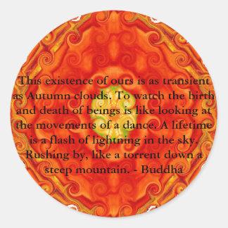 Cita budista con diseño espiritual vibrante etiquetas redondas