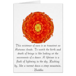Cita budista con diseño espiritual vibrante felicitacion