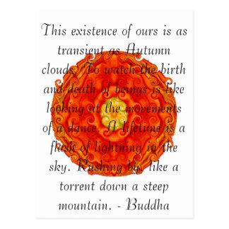 Cita budista con diseño espiritual vibrante postal