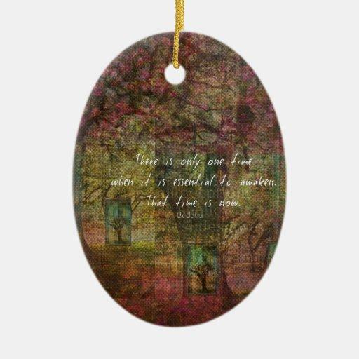 Cita budista inspirada con la pintura soñadora adorno ovalado de cerámica