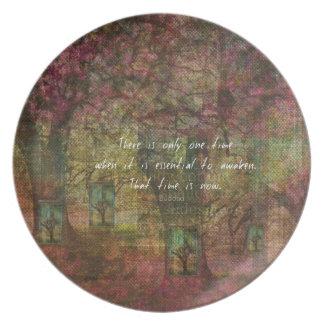 Cita budista inspirada con la pintura soñadora platos