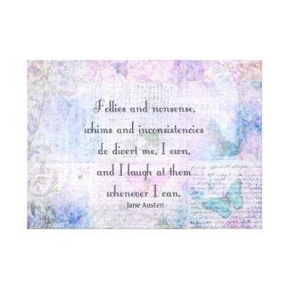 Cita caprichosa de Jane Austen, del orgullo y del  Lona Envuelta Para Galerías