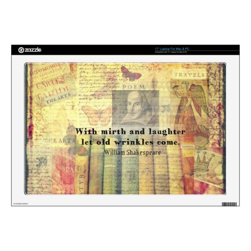 Cita caprichosa de la felicidad de Shakespeare Calcomanía Para Portátil