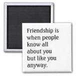Cita chistosa de la amistad imán cuadrado
