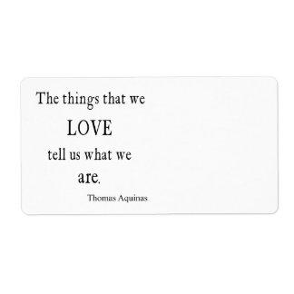 Cita/citas inspiradas del amor de Aquinas del vint Etiquetas De Envío
