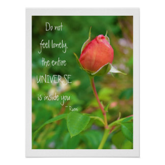 Cita color de rosa de Rumi del brote Poster
