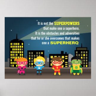 Cita colorida del super héroe de la motivación póster