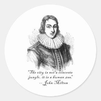 Cita concreta de la selva de John Milton Pegatina Redonda