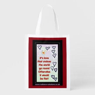 Cita/corazones Re-usables Foldaway del amor de la Bolsas Reutilizables