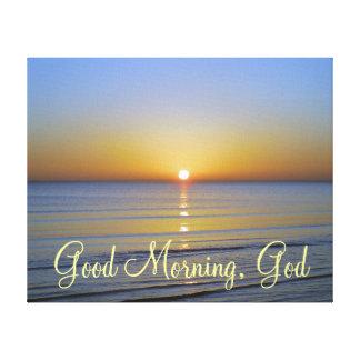 Cita cristiana de dios de la buena mañana lona estirada galerías