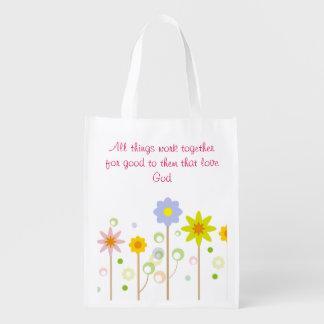 Cita cristiana de la raya y de la flor del rosa bolsa reutilizable