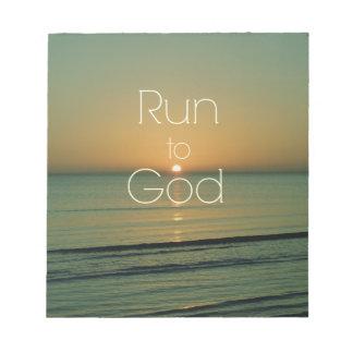 Cita cristiana inspirada corrida a dios bloc de notas