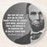 Cita de Abe Lincoln - dirección de Gettysburg Posavasos Diseño