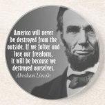 Cita de Abe Lincoln en la libertad Posavasos Para Bebidas
