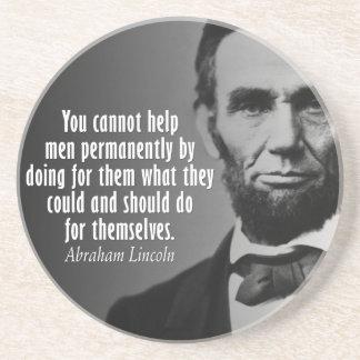 Cita de Abe Lincoln en los derechos Posavasos Manualidades