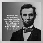 Cita de Abraham Lincoln - dirección de Gettysburg Posters