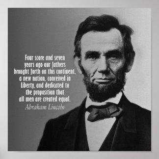 Cita de Abraham Lincoln - dirección de Gettysburg Póster