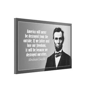 Cita de Abraham Lincoln en América Lona Estirada Galerias