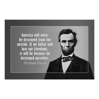 Cita de Abraham Lincoln en América Póster
