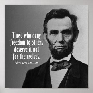 Cita de Abraham Lincoln en esclavitud Posters