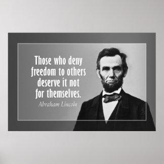 Cita de Abraham Lincoln en esclavitud y la liberta Póster