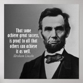 Cita de Abraham Lincoln en éxito Poster