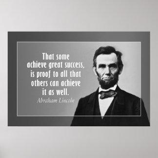 Cita de Abraham Lincoln en éxito Póster