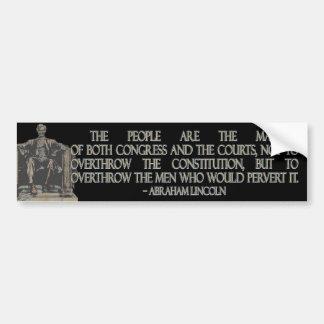 Cita de Abraham Lincoln en la constitución Etiqueta De Parachoque
