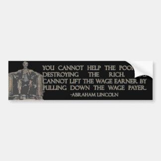 Cita de Abraham Lincoln en la destrucción de los r Pegatina De Parachoque