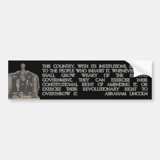 Cita de Abraham Lincoln en la nuestra derecha del  Pegatina Para Auto