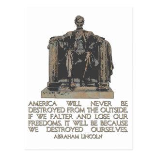 Cita de Abraham Lincoln: Nos destruimos Postal