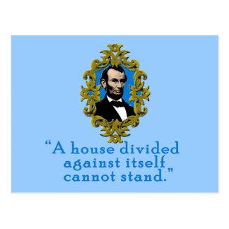 Cita de Abraham Lincoln una casa dividida Postal