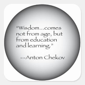 Cita de Antón Chekov Pegatina Cuadrada