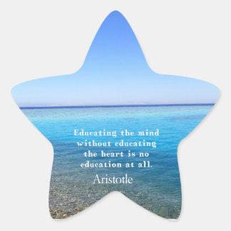 Cita de Aristóteles sobre la educación, Pegatina En Forma De Estrella