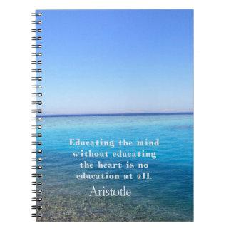 Cita de Aristóteles sobre la educación, profesores Libro De Apuntes Con Espiral