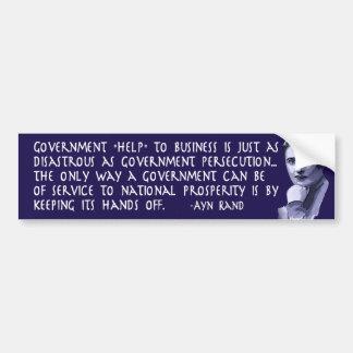Cita de Ayn Rand en ayuda del gobierno al negocio Etiqueta De Parachoque