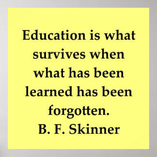 cita de B F Skinner Póster