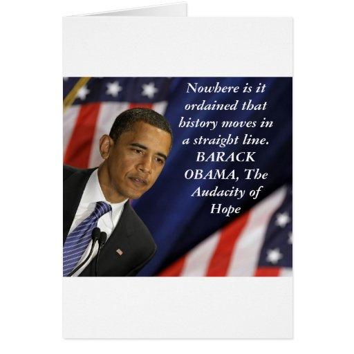Cita de Barack Obama en historia Tarjeta De Felicitación