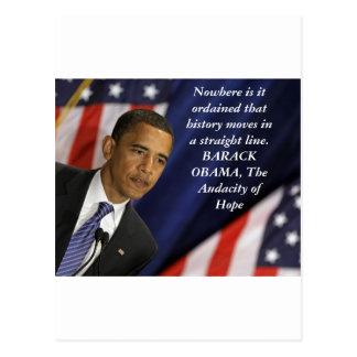 Cita de Barack Obama en historia Tarjeta Postal